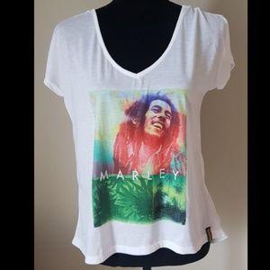 Bob Marley Sheer Back V neck tee M tshirt hi lo